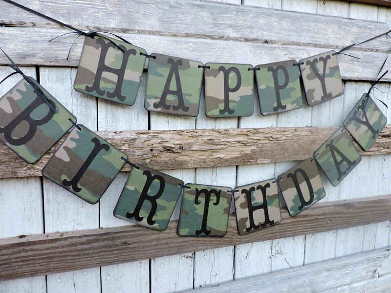 Camo Happy Birthday Banner Personalized Banner Masculine