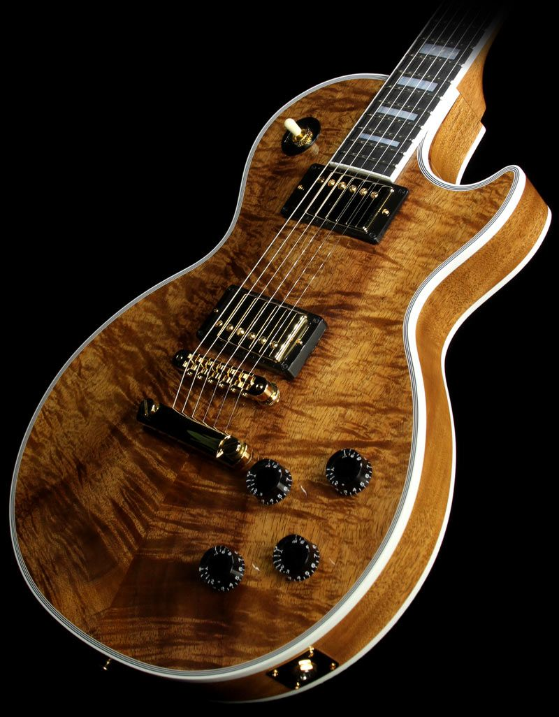 gibson custom shop les paul custom koa top electric guitar natural koa more les paul guitars. Black Bedroom Furniture Sets. Home Design Ideas