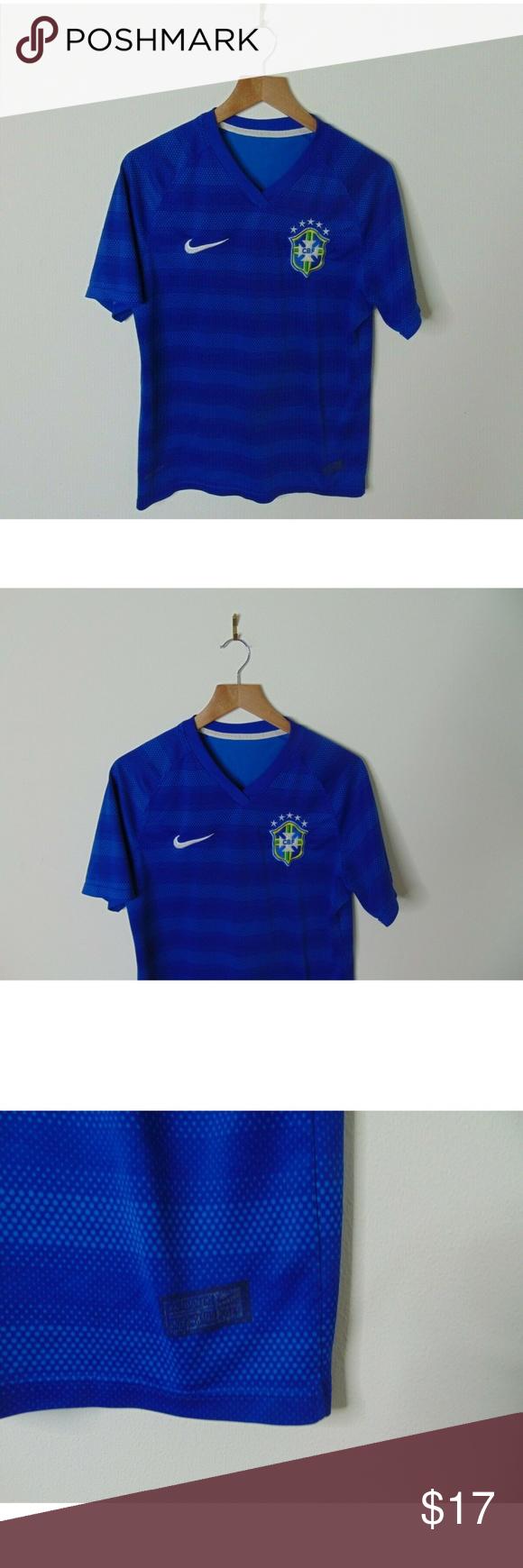 Nike Mens Shirt Short Sleeve Dri-Fit Brazil Soccer Football Blue Variety