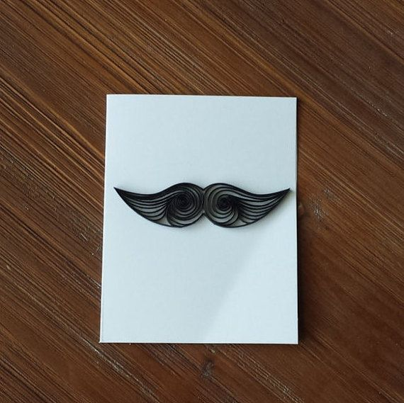 Quilled Paper Greeting Card  Black Mustache on White by CraftiMiMi