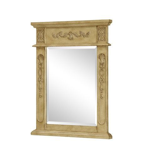 Antique Beige Rectangular Mirror with Top and Side Detail