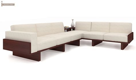 Buy Audrey 6 Seater L Shape Corner Sofa Set Mahogany Finish Online In India Corner Sofa Set Sofa Set Designs Wooden Sofa Set
