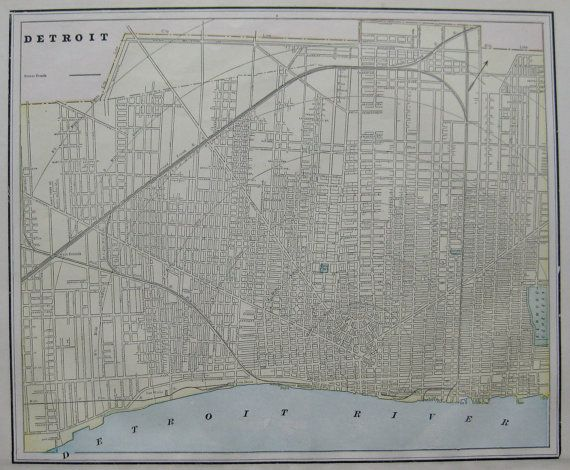 Antique DETROIT Map of Detroit Michigan 1891 by plaindealing