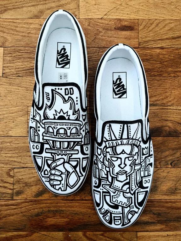 [ART] Hand painted Vans slipons inspired by NYC