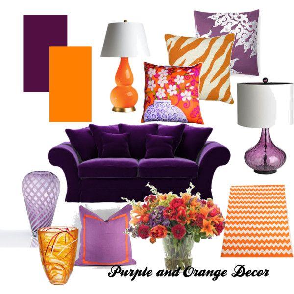 Purple And Orange Decor Designed By Sherrie Perkins Purple Living Room Purple Room Decor Living Room Orange