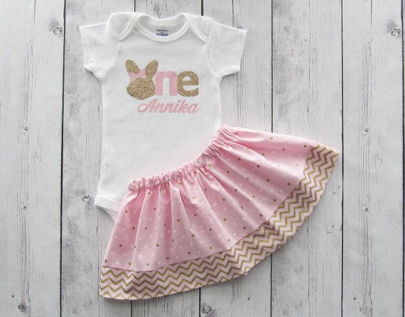Bunny 1 First Birthday Outfit in light Pink and Gold floral roses