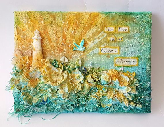 Ocean Breeze Handmade Mixed Media inspirational by mrkittycrafts