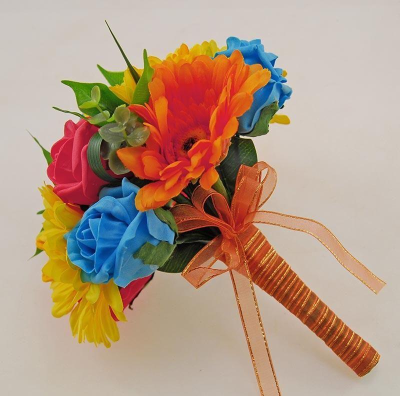 Bridesmaids Orange, Yellow Gerbera & Turquoise, Coral Rose Wedding Posy