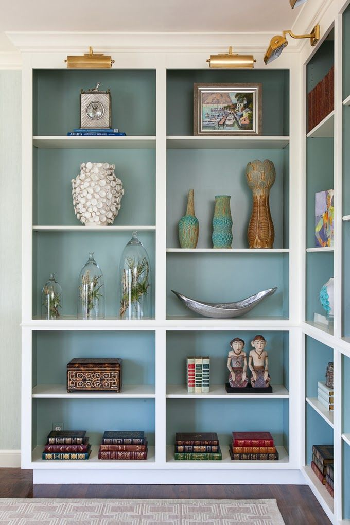 Benjamin Moore Stratton Blue Inside Cabinets Painted Back Bookshelves Shelving
