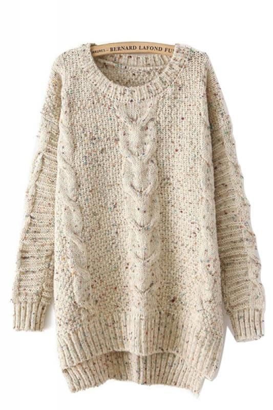 Beige Oversized Trui.Sweater Love Oversized Knit Wave Pattern High Low Hem Pullover