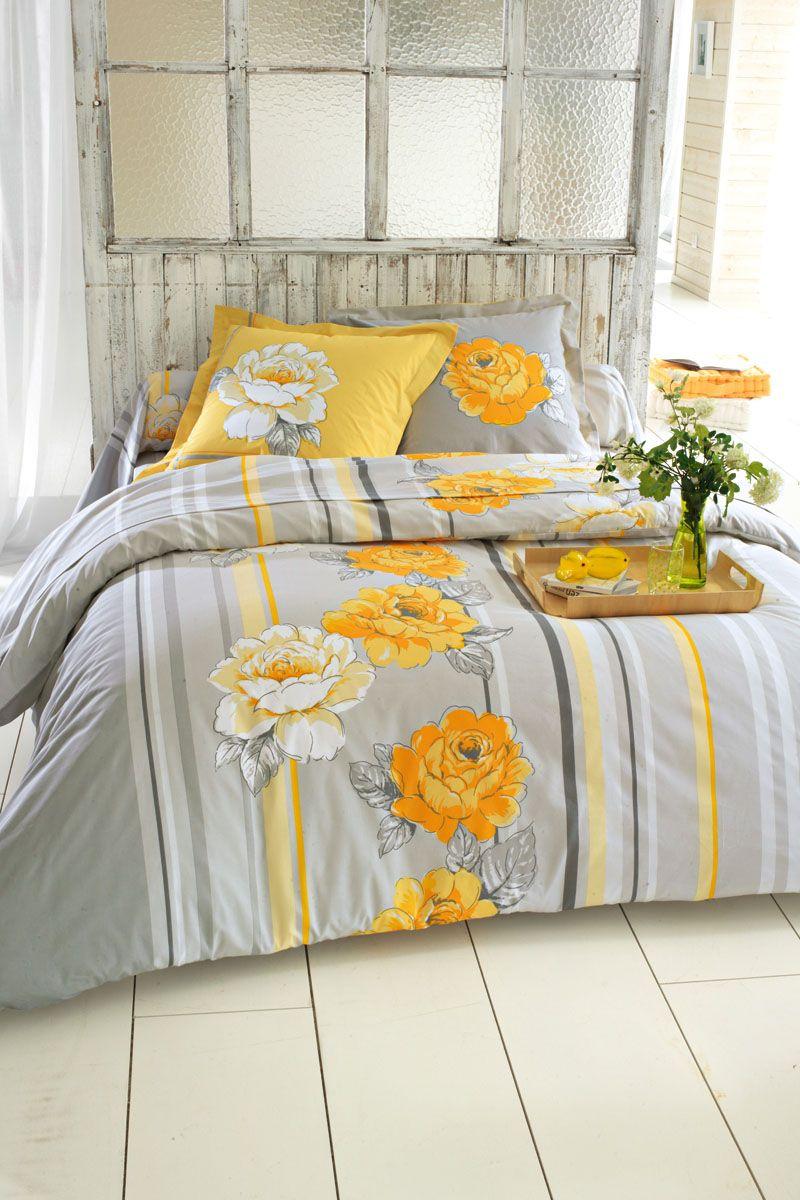 Vente Blancheporte 20695 Linge De Lit Fleuris Drap Housse Roselyne Jaune Et Gris Bed Comforters Linen Bedding