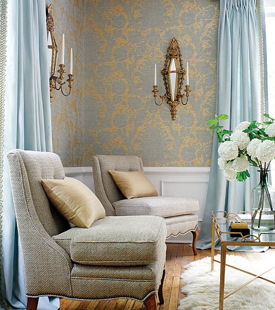 Best Sitting Room With Blue Gray Gold Wallpaper Chairs With 400 x 300