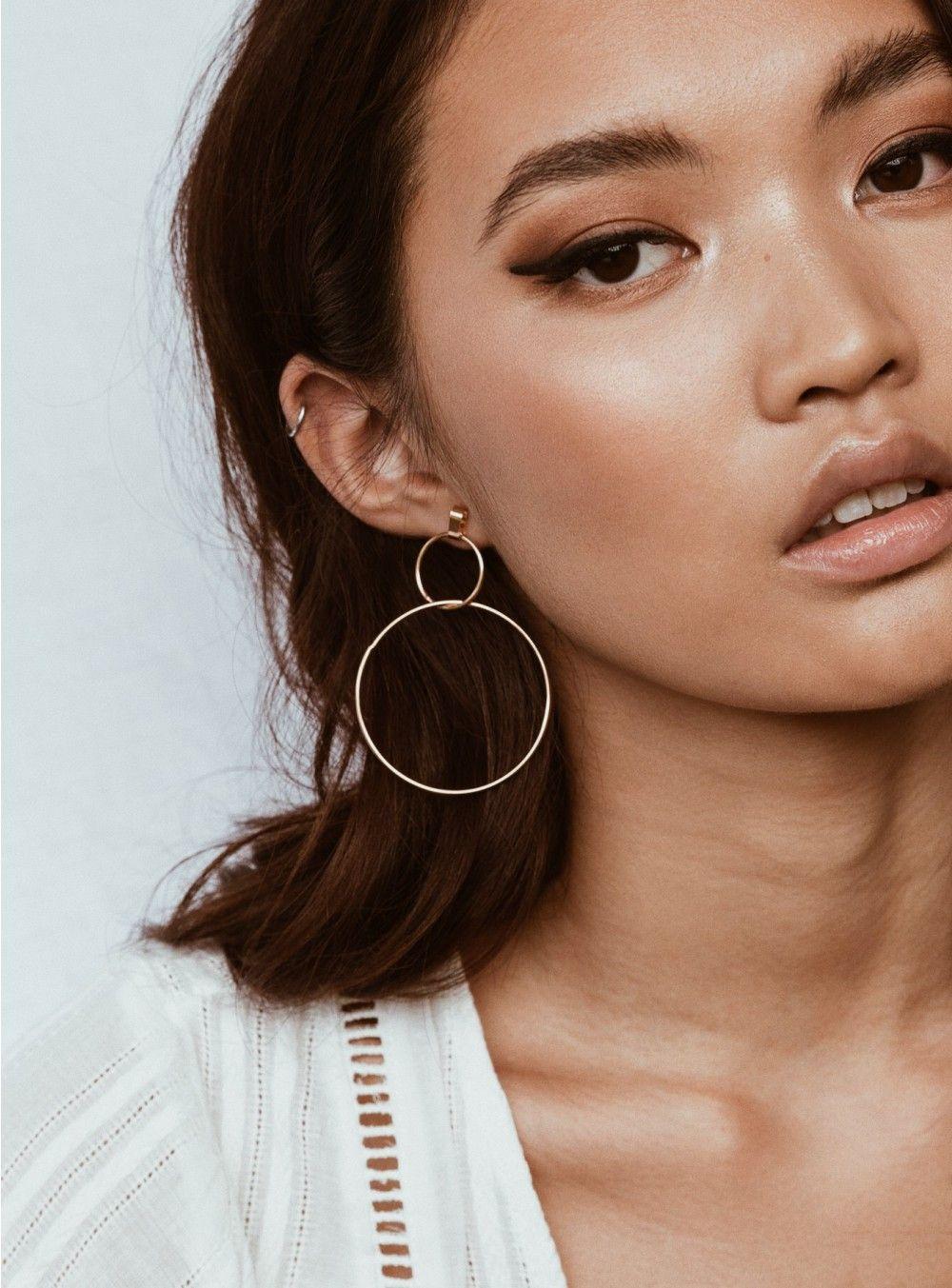 Gold Double Circle Earrings Womens jewelry earrings