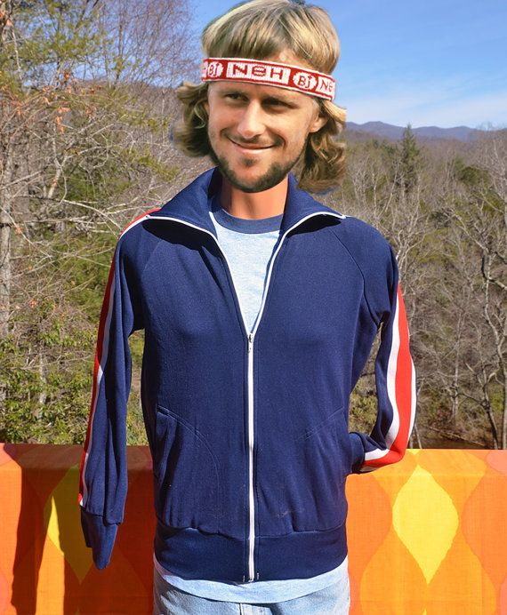 Vintage 70s Track Jacket Stripe Warm Up Team Uniform Navy Blue Etsy Track Jackets Jackets Stripe