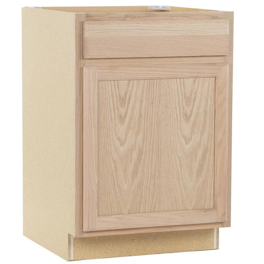 Project Source 24 In W X 35 In H X 23 75 In D Unfinished Door And Drawer Base Cabinet At Lowes Com Stock Cabinets Unfinished Cabinets Stock Kitchen Cabinets