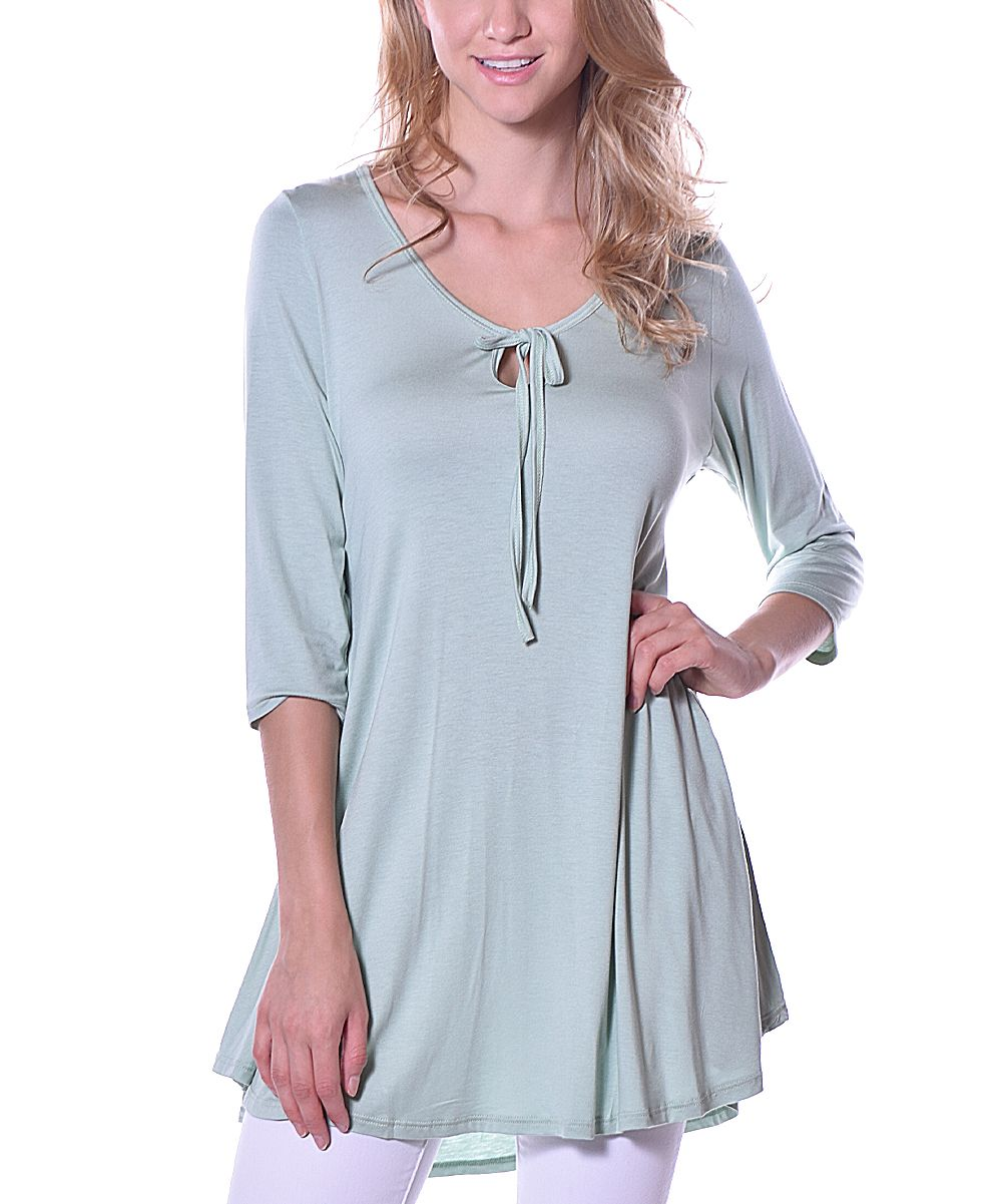 Sage Tie-Front Scoop Neck Tunic