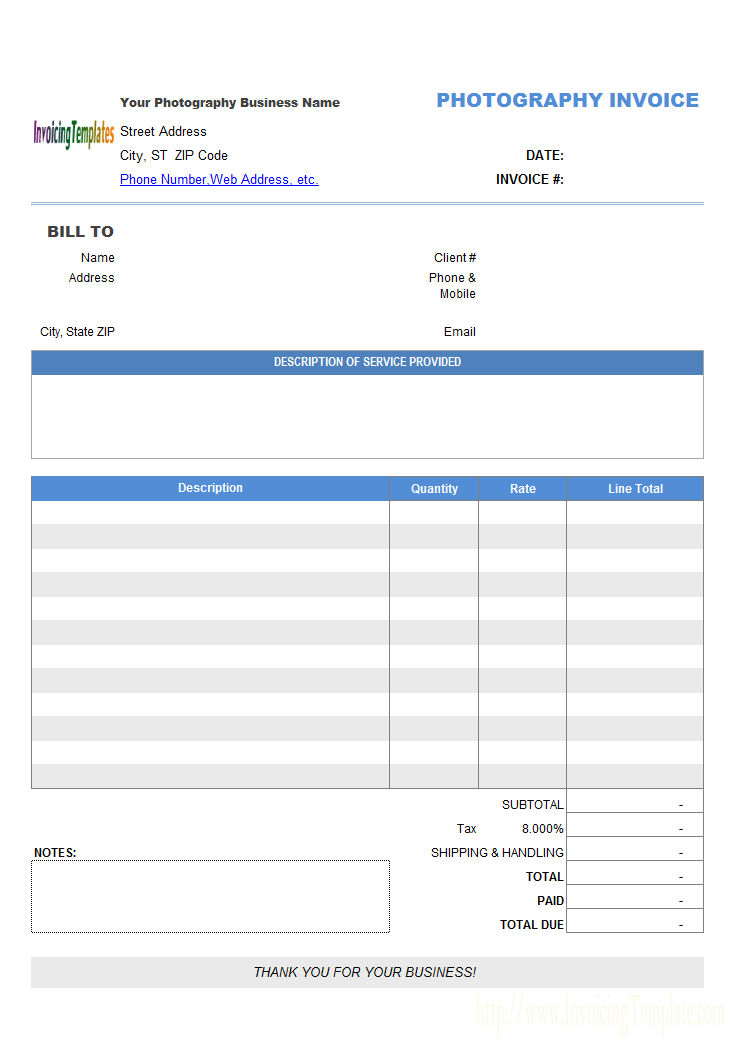 Photography Invoicing Template General  Key