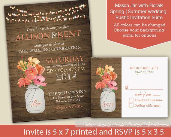Rustic Mason Jar Wedding Invitation Country Wedding Etsy Mason Jar Wedding Invitations Wedding Invitations Rustic Coral Wedding Invitations