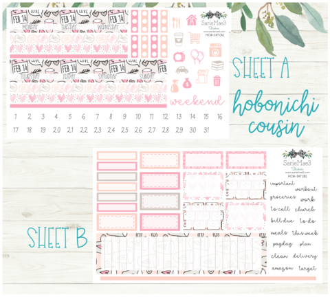 Planner Stickers Hobonichi Cousin MONTHLY Kit Hobonichi Cousin Holly