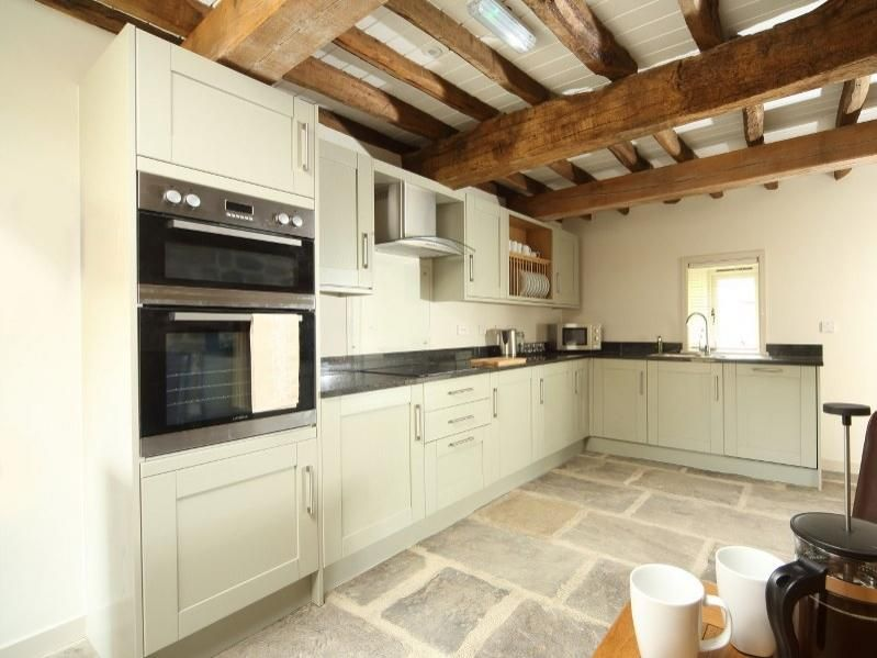 Marvelous Kitchen Design Inspiration . White Farmhouse Kitchen . Open Beams . Stone  Floor .