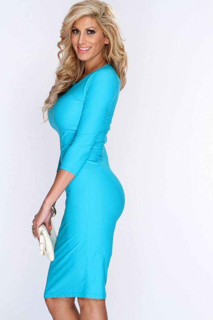 108c7354f5a1 Turquoise Quarter Sleeves Sexy Bodycon Dress