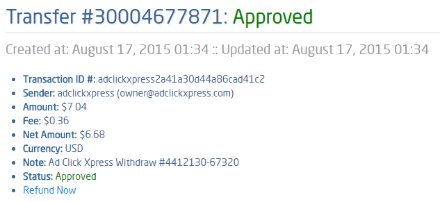 We all need proof of withdrawal, or that the company is paying daily. I recommend ACX - Ad Click Xpress, if you want to make money online the way I have started.  I WORK FROM HOME less than 10 minutes and I manage to cover my LOW SALARY INCOME.  If you are a PASSIVE INCOME SEEKER, then AdClickXpress (Ad Click Xpress)  is the best ONLINE OPPORTUNITY for you. Here is my Withdrawal Proof from AdClickXpress. I get paid daily and I can withdraw daily.