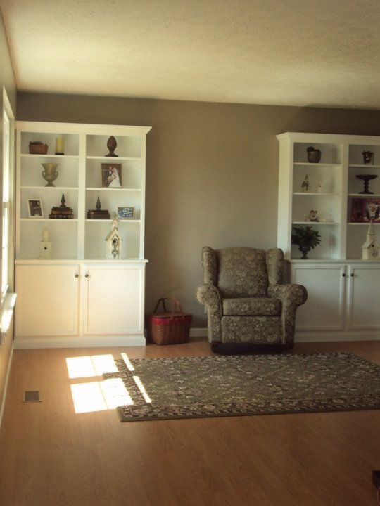 My Husband Built These Bookcaseswe Have No Furniture In Our Classy No Furniture Living Room Inspiration