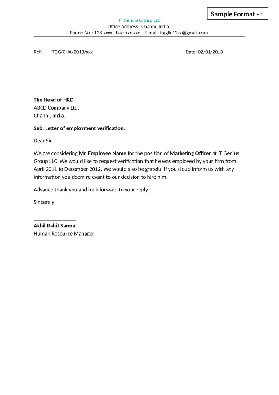 Letter Certification Doc Self Employment Proof Letters