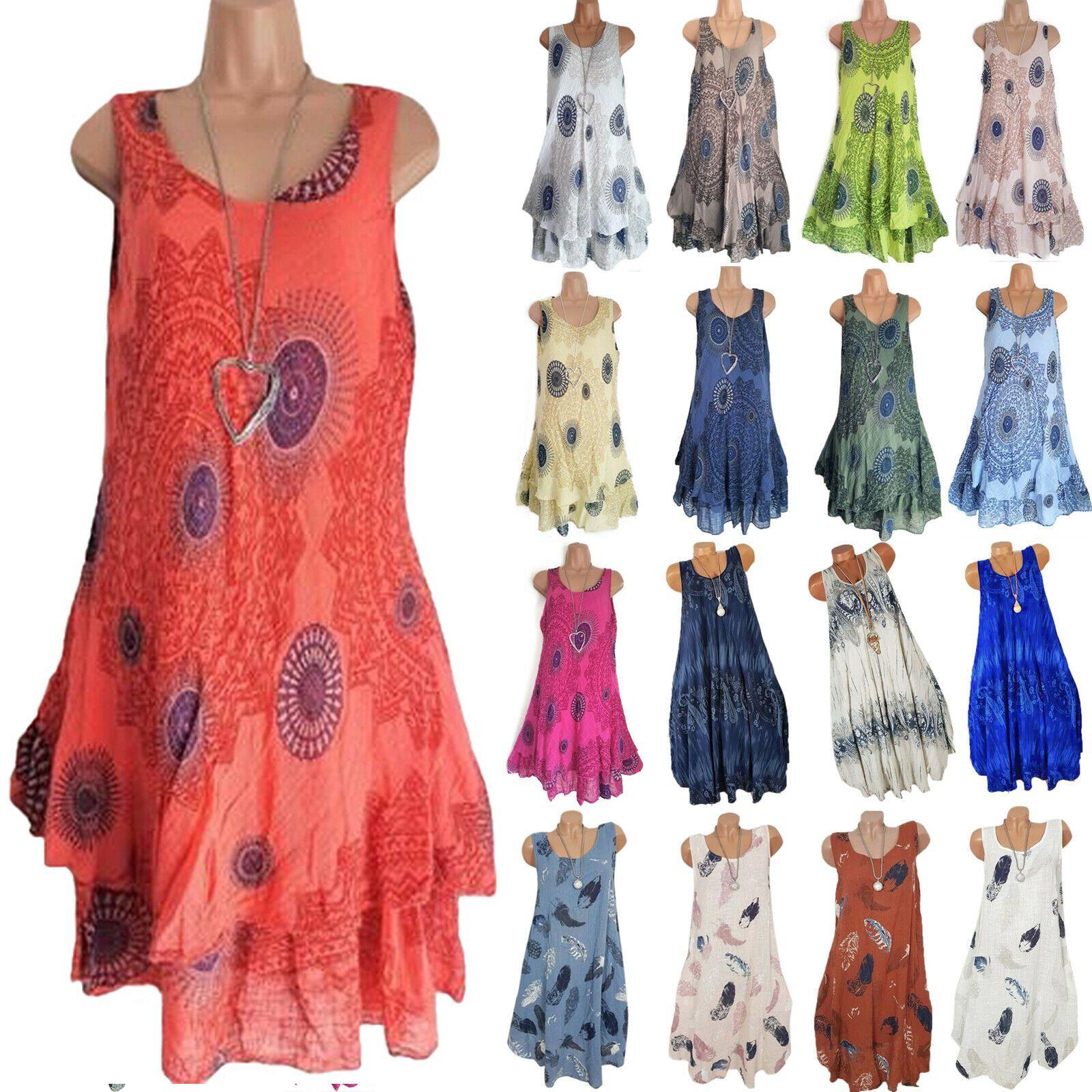 Damen Strand Boho Sommerkleid Minikleid Tunika Ärmellos Trägerkleid Partykleider