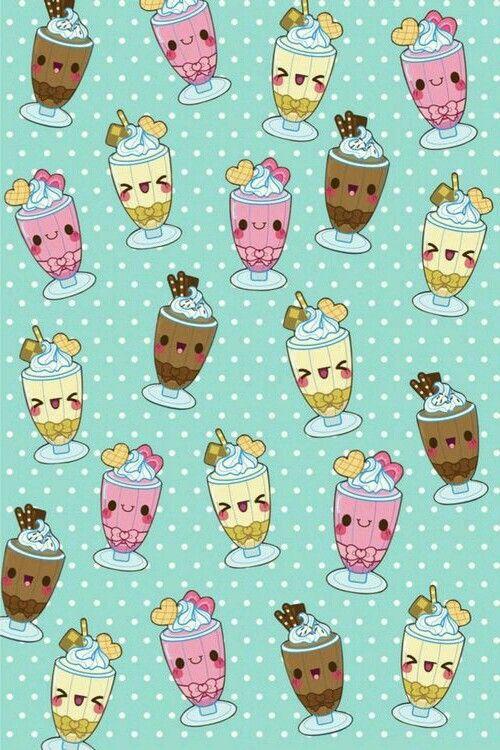 Cute Pastel Kawaii Ice Cream Sundaes Wallpaper ...