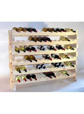 """6 Shelf 72 Bottle Pine Stackable Rack  for $109.95 from WineRacks.com    No tools required to assemble this wine rack. Stack multiple sets for more storage. Each set holds 72 750ml bottles.    Dimensions: 35 3/4""""T x 46"""" W x 11 1/2"""" D  Available in unfinished Pine"""