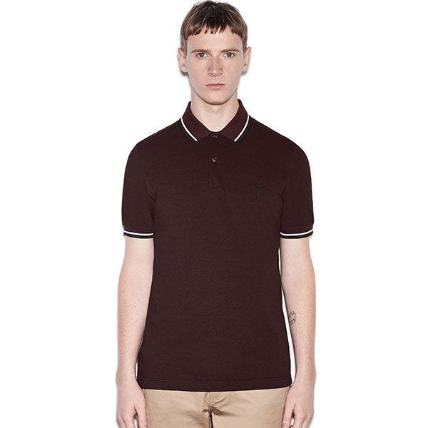 Fred Perry Polo Shirt- Mahogany Black Oxford / White / Black