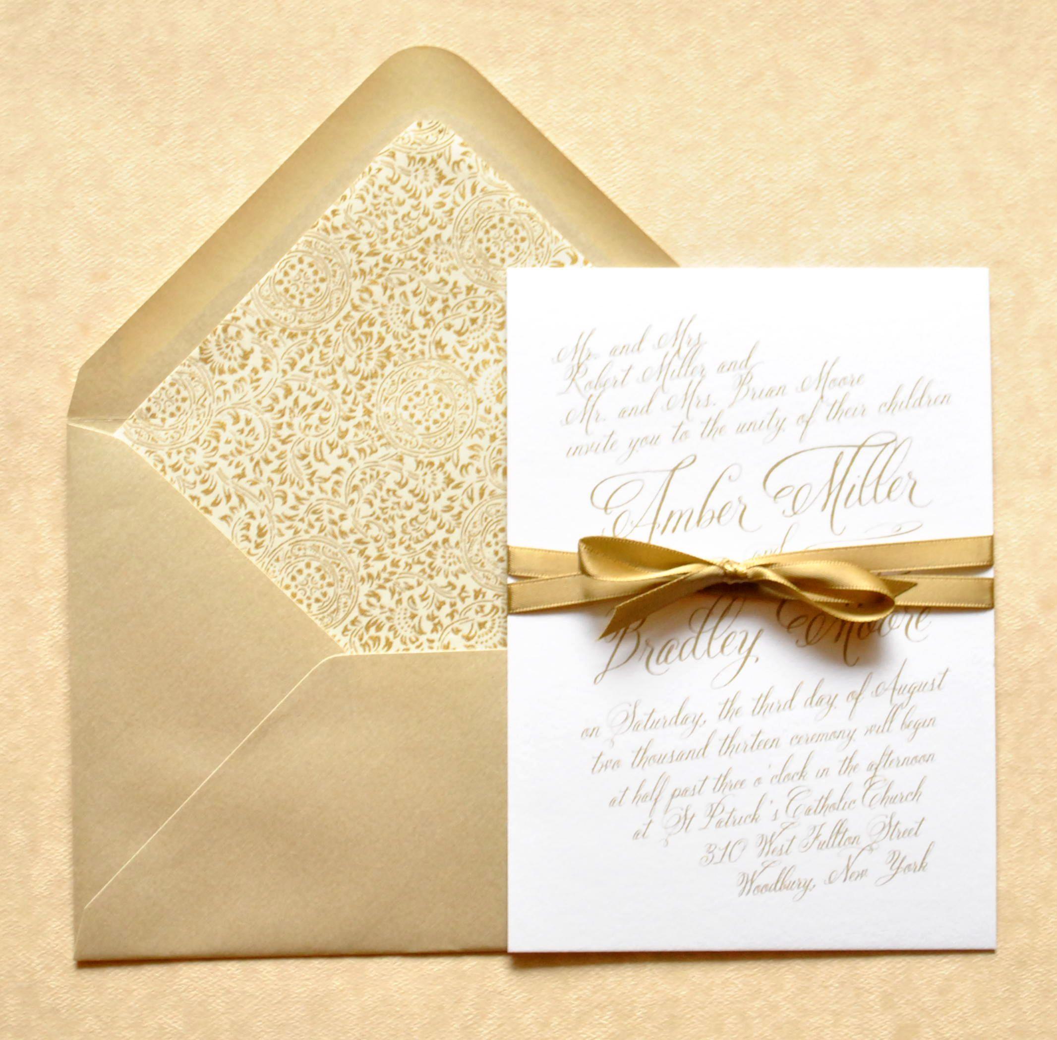 Gold Wedding Invitations: Gold Wedding Invitations, Gold Calligraphy Wedding