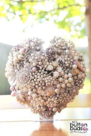Brooch Bouquet by Nic's Button Buds Heart Shaped