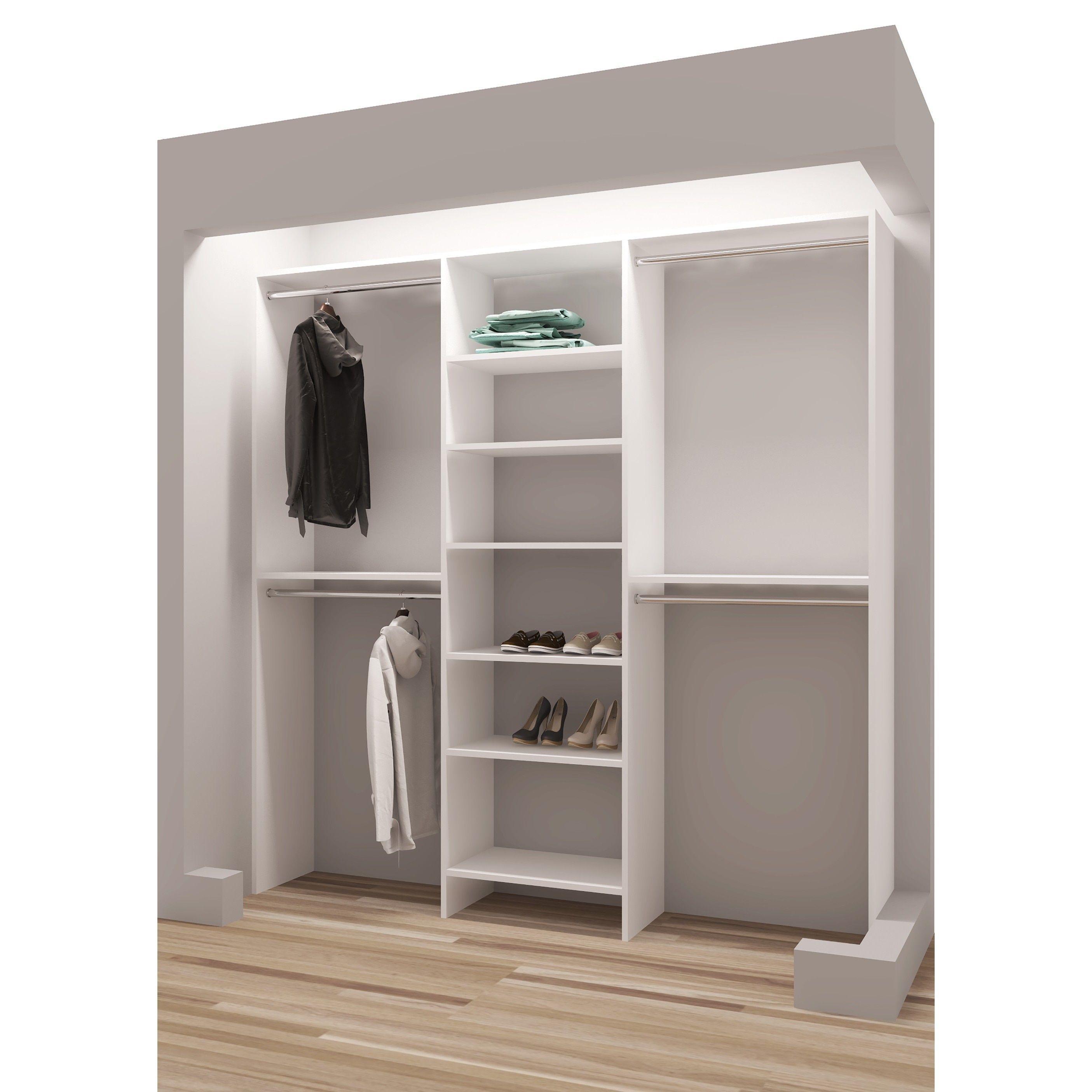 Tidysquares White Wood 81 Inch Reach In Closet Organizer Closet