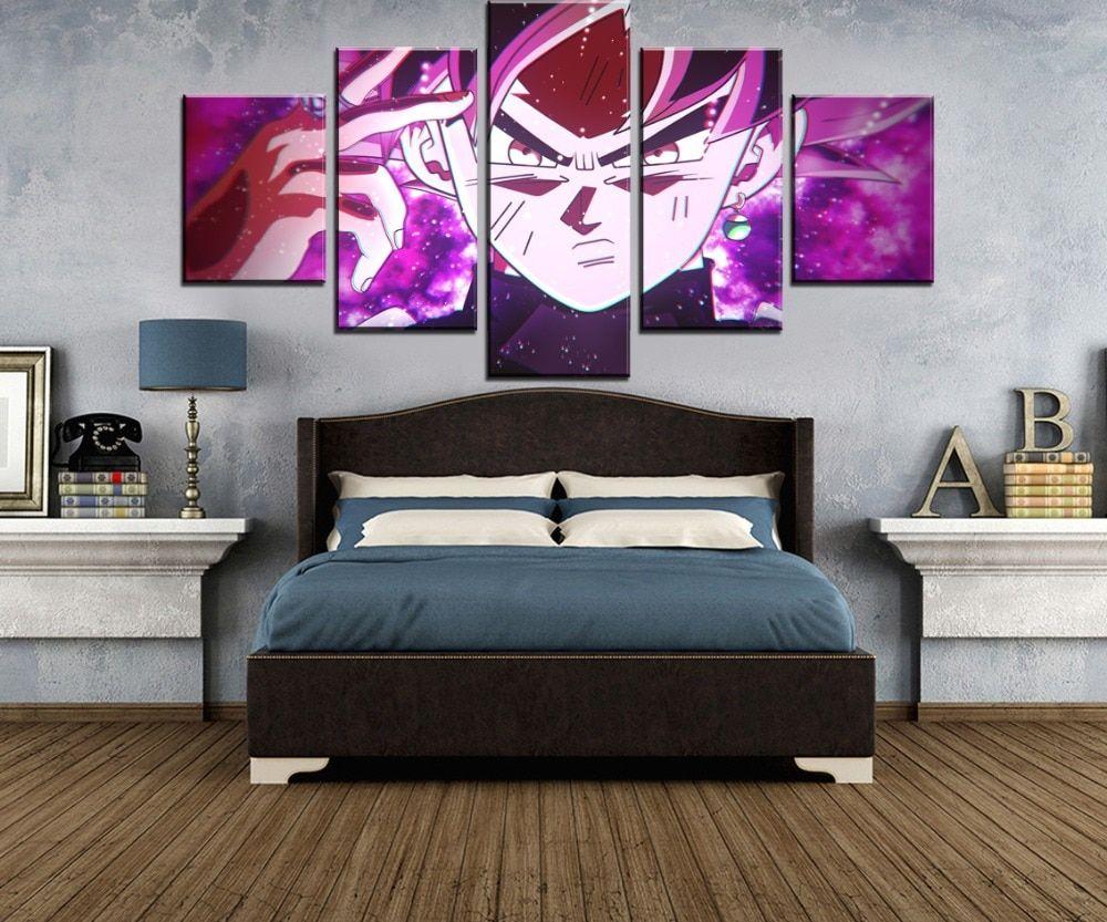 5 pieces anime goku black super saiyan rose artwork dbz