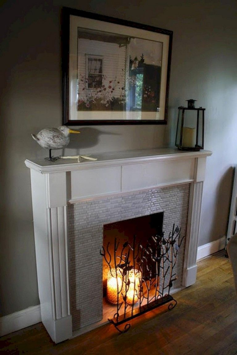 40 Beautiful Apartment Fireplace Decor Ideas Apartment Fireplacedecor Fireplacedecorideas Fake Fireplace Fireplace Design Faux Fireplace
