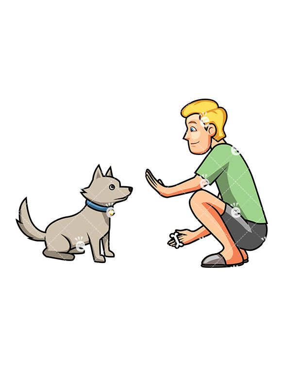A Man Teaching His Cute Dog To Sit Cute Dogs Cartoon Dog Best