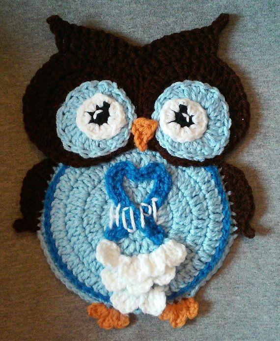 Crochet Cancer Ribbon Owl Potholder Pattern Only | Topflappen ...
