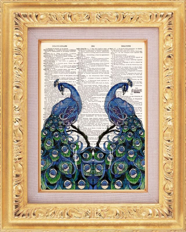 Elegant Peacocks Upcycled Dictionary Page Recycled Book Art Upcycled Art Print Upcycled Book Print Vintage Art Print Recycled Art. $8.98, via Etsy.