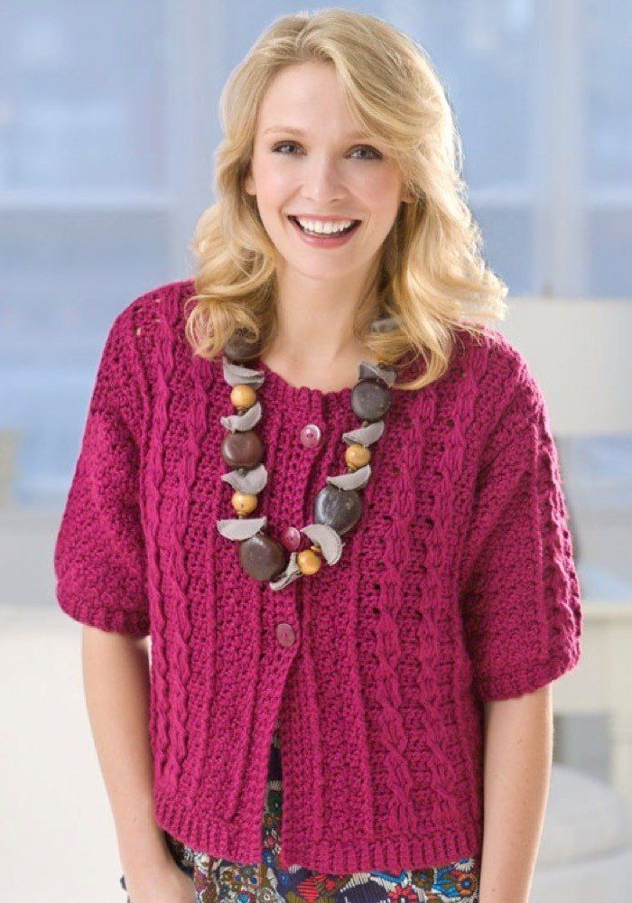 Crochet Cable Cardi In Red Heart Soft Solids Lw2440 Knitting Patterns Loveknitting Crochet Cable Crochet Crochet Cardigan Pattern