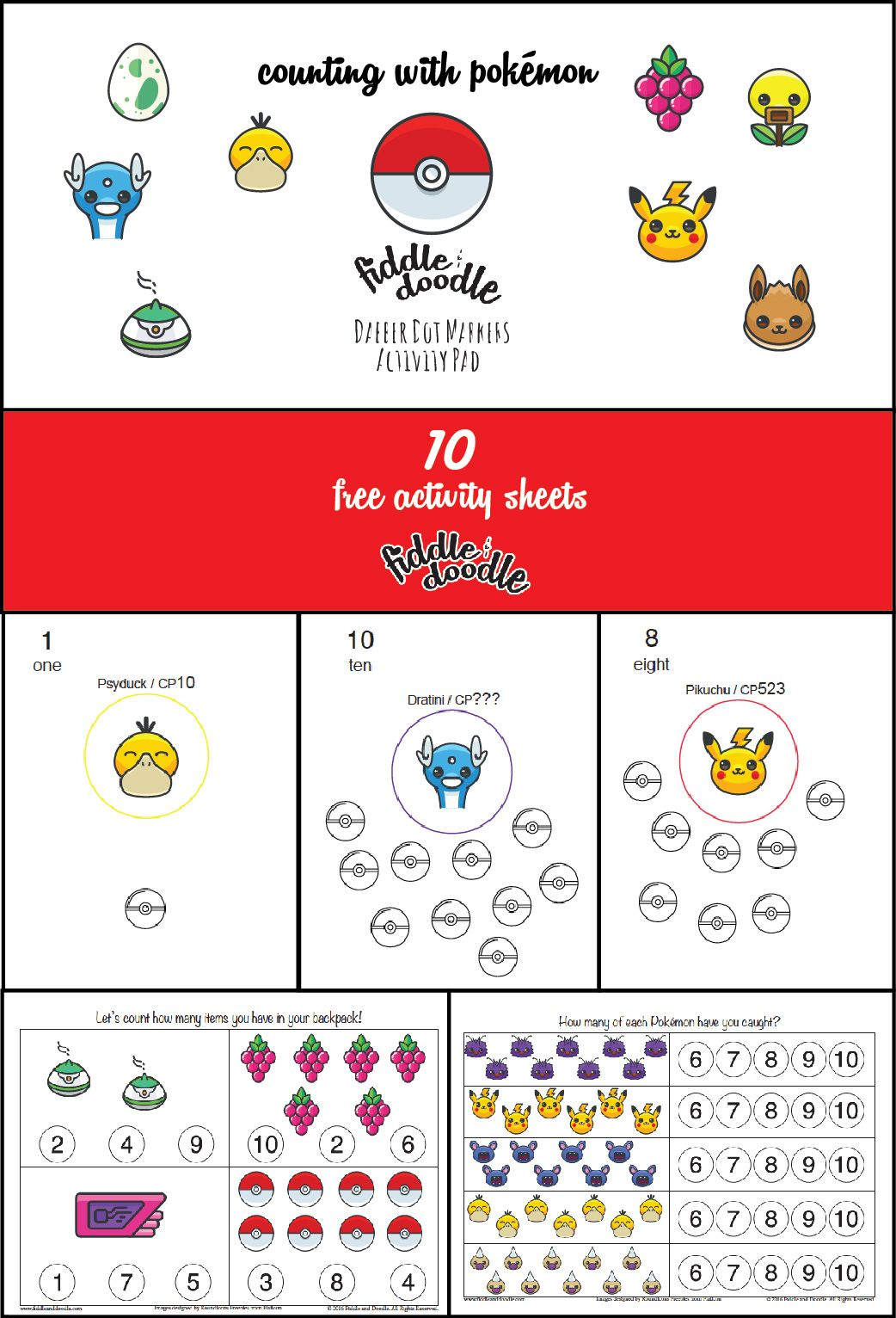 Free Activity Sheets for Dabber Dot Markers - Counting ...