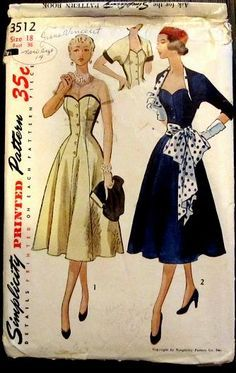 Simplicity 3512 ©1951 strapless dress, reversible bolero, & sash