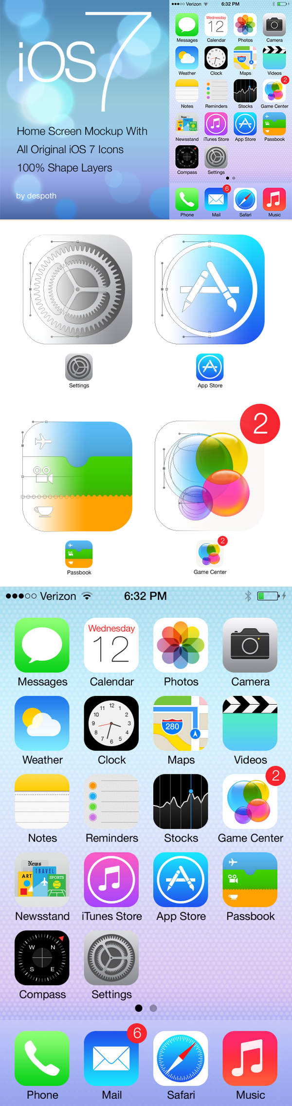 Download iOS 7 Home Screen With Icons Layers Mockup Free