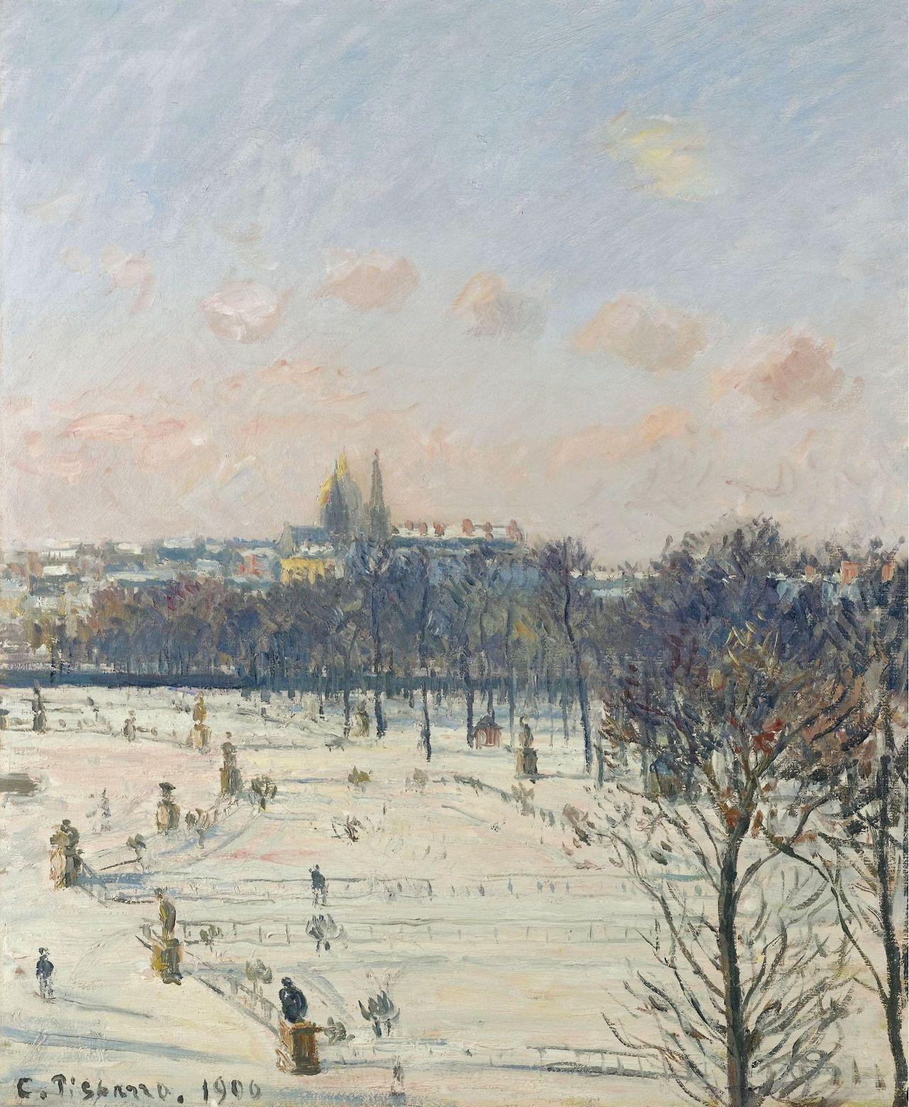Le jardin des Tuileries,effet de neige - Camille Pissarro 1900.