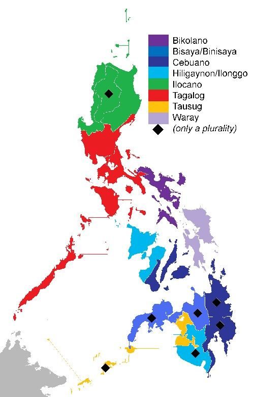 Philippine Languages map history in maps Pinterest Philippines
