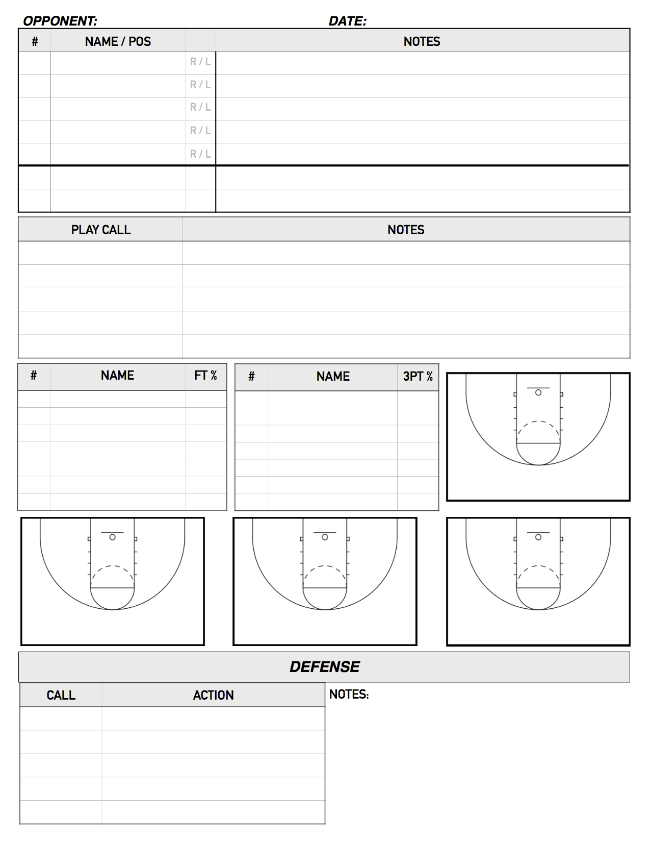 Blank Basketball Coaches Court Diagram Wiring Ac Split Duct Daikin Scouting From The Bench Pinterest