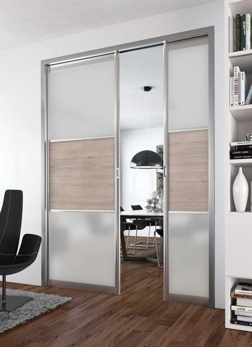 Dressing Porte Placard SOGAL Modèle De Portes Coulissantes - Porte placard coulissante avec porte intérieure vitrée blanche