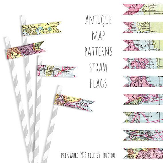 Printable map pattern straw flags antique world map instant printable map pattern straw flags antique world map instant download straw flags map travel party printable pdf jpg digital party printable gumiabroncs Choice Image