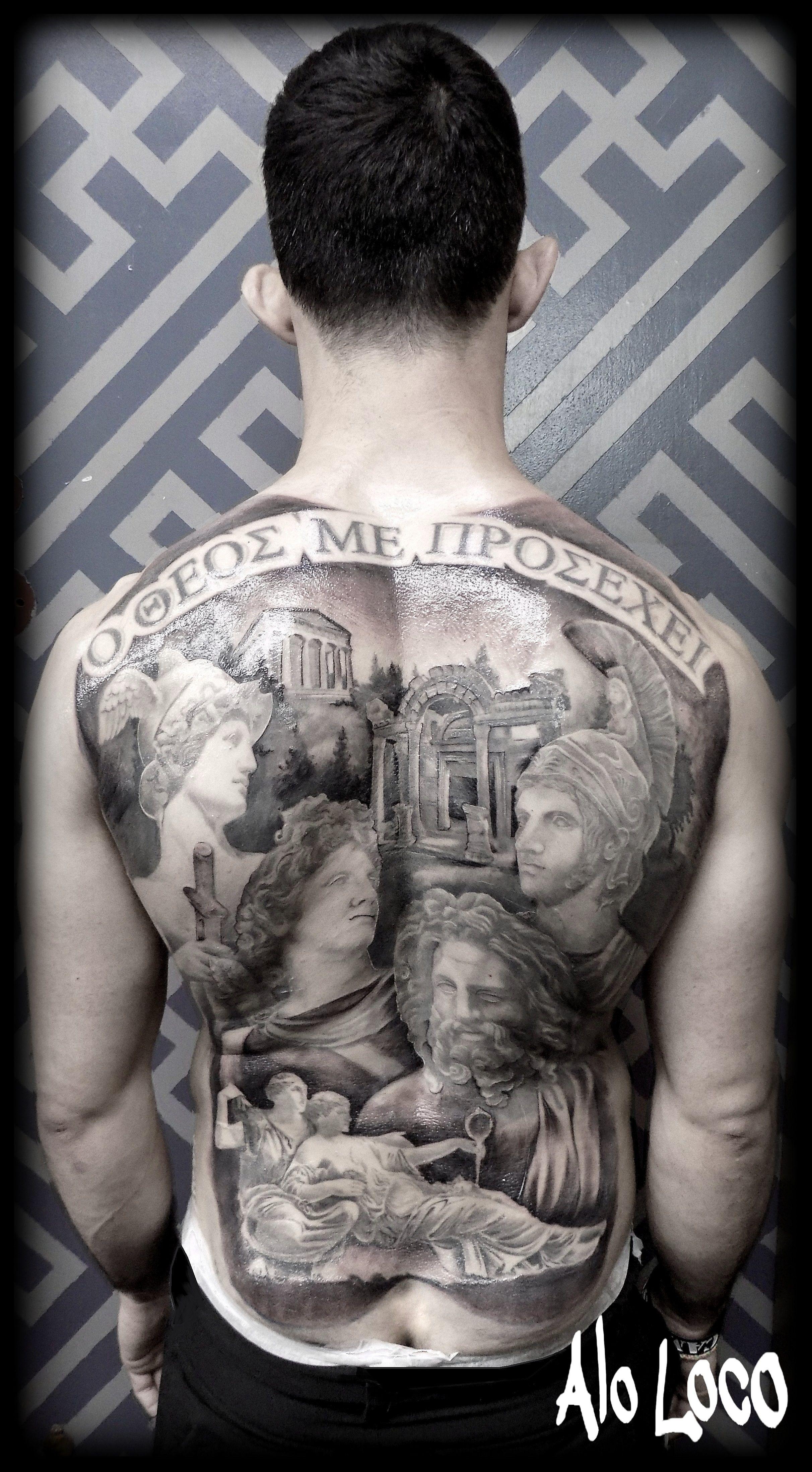 Alo Loco tattoo, www.alo-loco.com full back black and grey ...